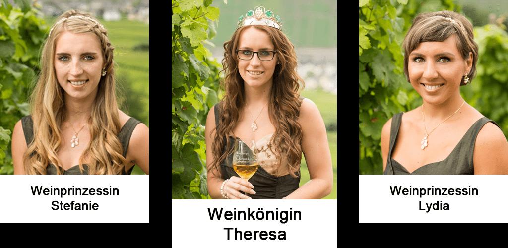 Weinkönigin Theresa mit ihren Weinprinzessinen Stefanie und Lydia
